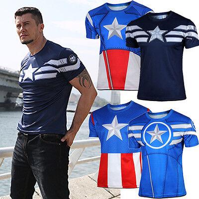 Captain America Comic Mens Compression Slim Short Sleeve T-shirt Jersey Tee Tops