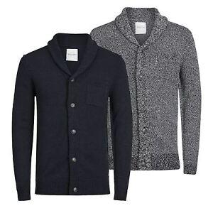 JACK-amp-JONES-Instinct-Mens-Cardigan-Jumper-Shawl-Neck-Button-Up-Sweater