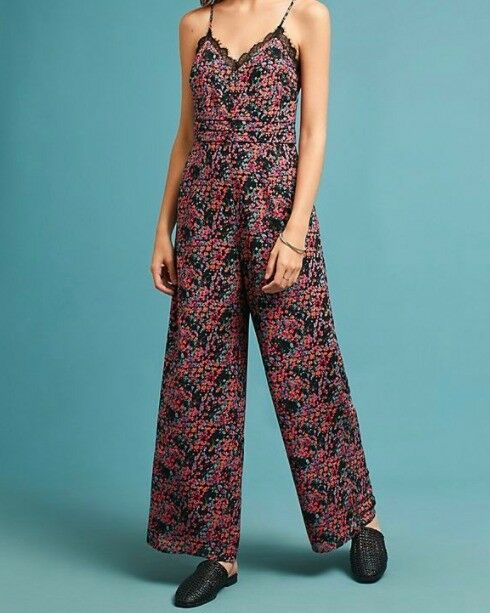 Anthropologie Elma Lace Trim Floral Jumpsuit NWT