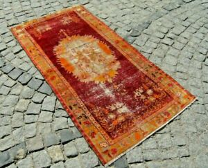 Vintage Anatolian Turkish Low Pile Oushak Rug Carpet 34,2'' X 67,7'' Area Rug Convenient To Cook Rugs & Carpets