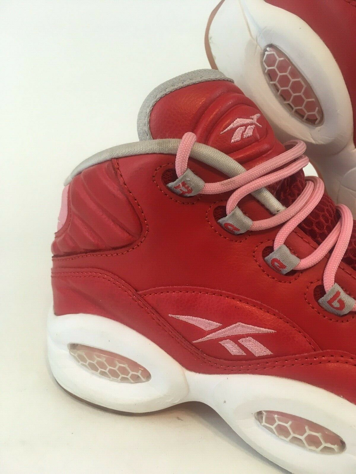 Reebok Reebok Reebok Allen Iverson The Question Pink Red Mid Retro Sparkle Youth 5.5 Womens 7 e5f80b