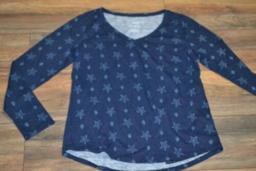 Sonoma Everyday Tee V Neck Long Sleeve T-Shirt Dark Blue with Stars