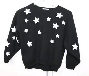 Zara-Knitwear-Fancy-Collection-Black-White-Stars-Long-Sleeve-Sz-10