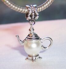 Teapot Beige Pearl Tea Kitchen Dangle Bead for Silver European Charm Bracelets