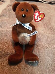 Ty Beanie Babies Cocoa Bean Plush Bear w/tag 100 Years  Hershey's Kisses 2007