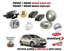 Para Toyota Auris 2.2 D4D 2007-2012 Delantero + Trasero Discos De Freno Kit De Discos Pastillas Set +