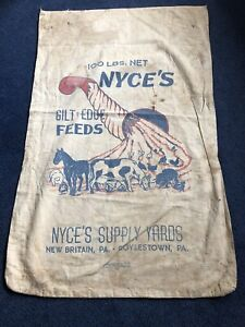 Recycled feed sack beef wbald face cowcattle with black paisley liner totebagpurseshopping bag