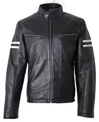 Aviatrix Mens Real Leather Light Blue Zipped Racing Biker Jacket Badge Stripes Blue