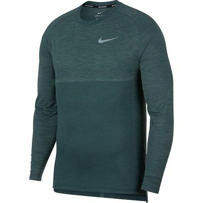 Nike Dri-Fit Knit Medalist Long Sleeve Running Shirt Jungle Clay Green DRY Large