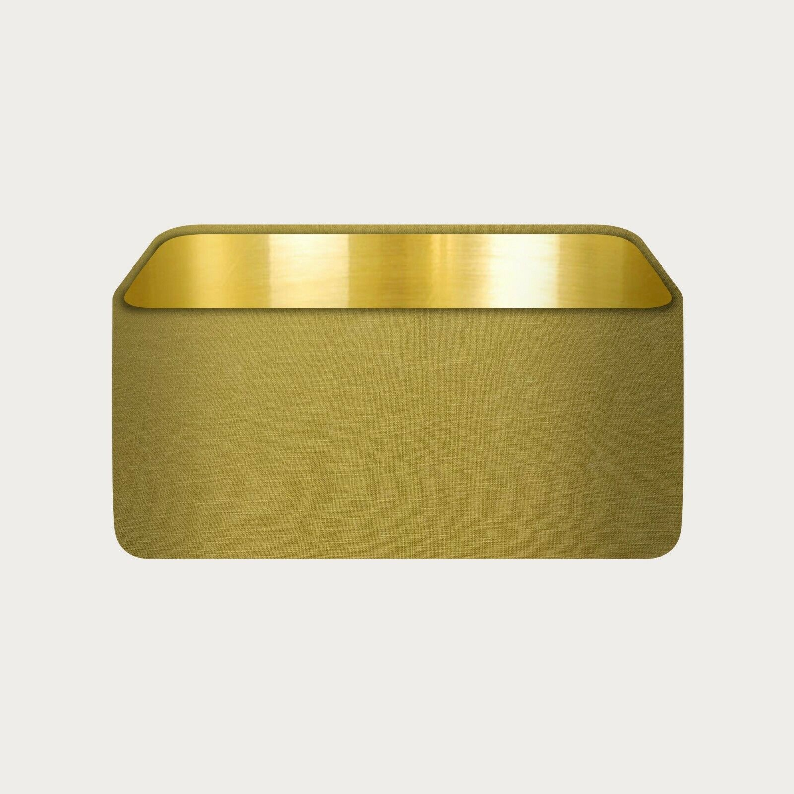 Rounded Rectangle 100% Mustard Linen with Brushed Gold Metallic Lining