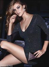 NWT BEBE black multi color crystal stud mesh back deep v neck top dress S small