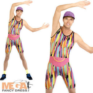 "FANCY DRESS MENS MR EXERCISE MAN MOTIVATOR 90/'S BODYSUIT FITS UP TO 38/""CHEST"