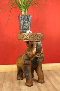 FLORERO-Mesa-Auxiliar-Elefante-Acacia-madera-maciza-podest-Mesa-Salon