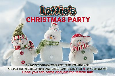 Christmas Party Invitations - 5 x Personalised Prints large design choice