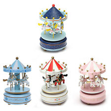 Musical carousel horse wooden carousel music box toy child baby game Q3X6 I1K7