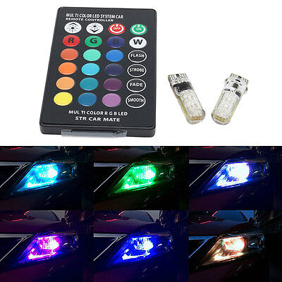 T10 W5W 5050 12SMD RGB LED Multi-Color Light Car Wedge Side Bulbs Remote Control
