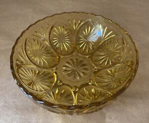 Vintage-Amber-Pressed-Glass-Starburst-Pattern-Scalloped-Edge-8-Inch-Serving-Bowl