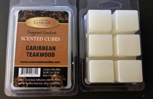 Crossroads Caribbean Teakwood  2oz Scented Cubes-Tarts-Melts-Paraffin Wax TWO