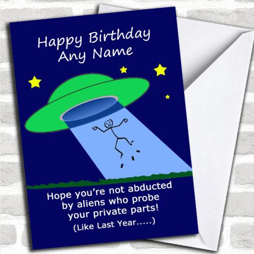 Funny Joke Alien Probe Personalised Birthday Card