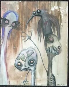 GUS-FINK-Art-ORIGINAL-Painting-Abstract-Outsider-Ooak-lowbrow-Brut-CROW-LESSON