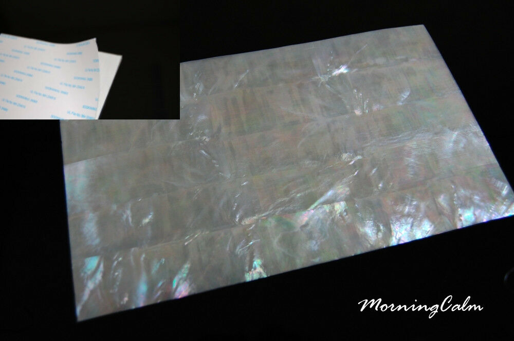 3 Sheets of Weiß Mother of Pearl Coated Adhesive Veneer (MOP Shell Papercraft)