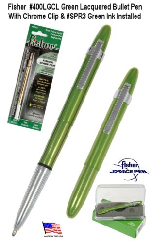 Fisher #400LGCL3 Lime Green Bullet Space Pen with Clip & Green Ink