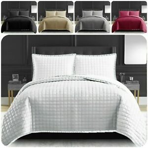 New Luxury Comforter Bed Set Embossed Quilted (Osca) Bedspread Throw All Size