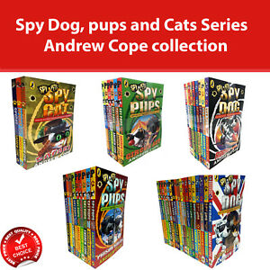 Andrew Cope collection Spy Dog, pups and Cats Series Books Set Fiction Pack NEW