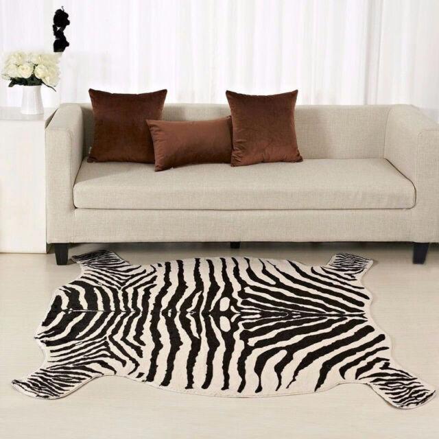 Zebra Print Faux Fur Hide Rug Carpet