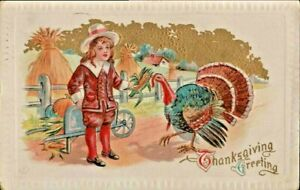 Antique-Postcard-THANKSGIVING-GREETING-Boy-Feeding-Turkey-Fancy-Emb-Color-1911