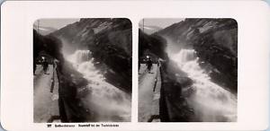 Stéréo, Suisse, Gotthardstrasse, Reussfall bei der Teufelsbrücke Vintage stereo