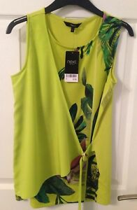 Ladies-Next-Green-Floral-Tie-Side-Top-Size-6-BNWT