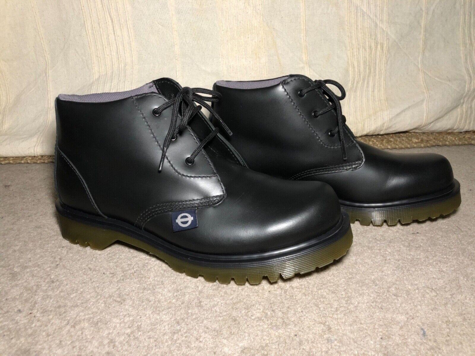 Mens Dr MartensLondon Underground Black Leather Safety Shoe Boots UK 8.5