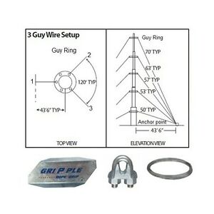 Down Guy Wire | 50 Ft 3 Way Down Guy Wire Kit W 48 Anchors For Telescoping