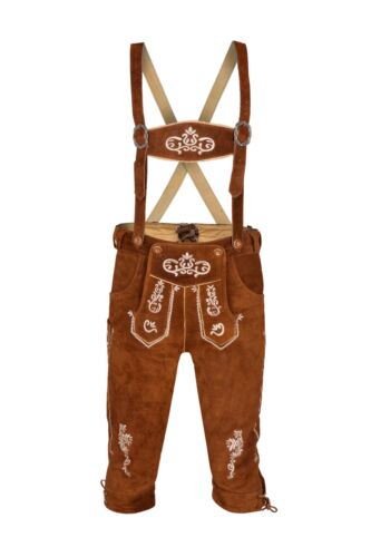 Mens Bavarian LEDERHOSEN Real Suede Leather with Matching Suspenders Shorts