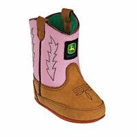 John Deere Baby Crib Wellington Kids Cowboy Boot Brown & Pink Jd0185