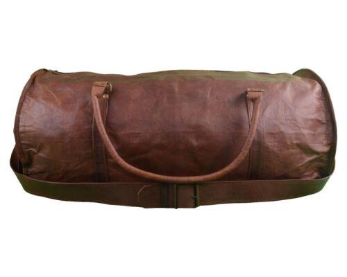 Men/'s duffel genuine Leather large vintage travel Light weekend overnight bag