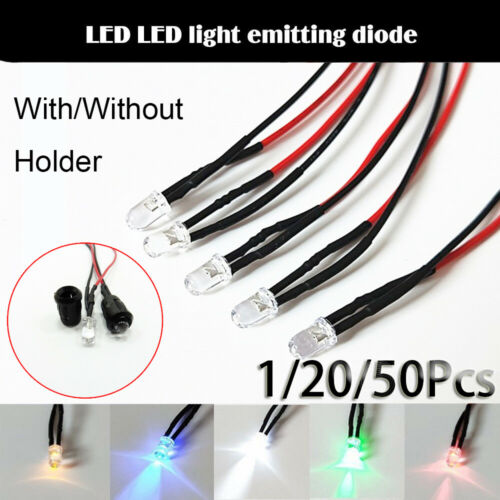 Accessories 12V 20cm Cable 5mm LED Light multi-color Pre-Wired Emitting Diode