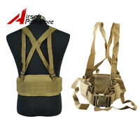 Tactical Hunting Airsoft Molle Waist Padded Belt With H-suspender Paintball Tan