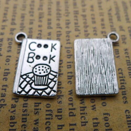 10pcs Charms Cook Books Recipe Tibetan Silver Beads Pendant DIY 14*20mm