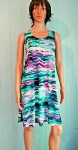 Jostar-Poly-Spandex-Wrinkle-Free-DRESS-Teal-Purple-Watercolor-Travel-S-M-L-XL