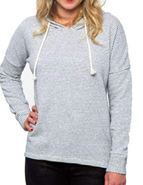O'Neill Women's Pullover Sweatshirt Striped Drawstring Hoodie Various Colors