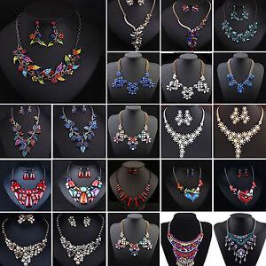 Fashion-Women-039-s-Stone-Crystal-Flower-Bib-Statement-Chunky-Choker-Chain-Necklace