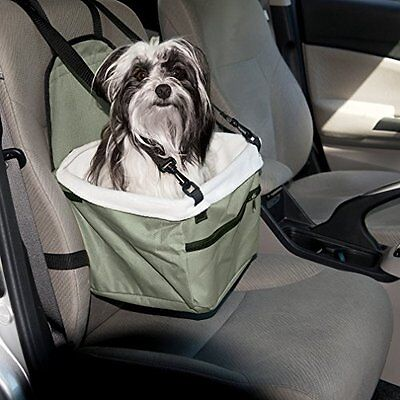 Secure Strap In Pet Booster Car Seat - For Dogs / Cats up to 20 lbs. - Pocket