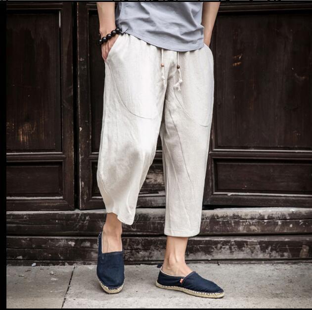 Men Beach Shorts Summer Loose Cropped Trousers Cotton Linen Casual Pants New SZ