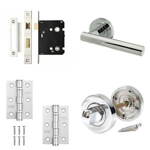 Rosetta Internal Chrome Door Handle Sets - Latch Lock Bathroom Door ...