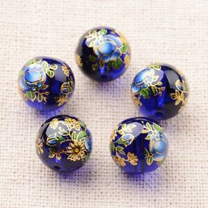 5pcs-Flower-Painted-Glass-Round-Beads-DarkBlue-Jewelry-Craft-Making-12mm