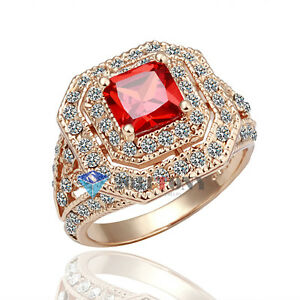 Simulated-Ruby-Vintage-Ring-Use-Swarovski-Crystal-18K-Rose-Gold-Plated-Jewellery