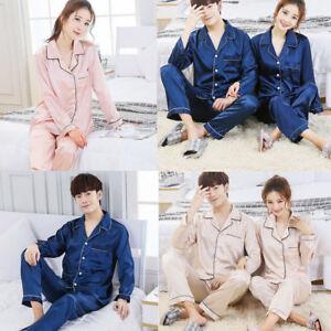 57b9a54cc7 Image is loading Mens-womens-Silk-Satin-Pajamas-Pyjamas-Lovers-Loungewear-