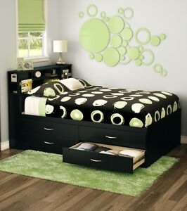 Black Full Storage 4 Drawer Platform Bed Frame With Bookcase